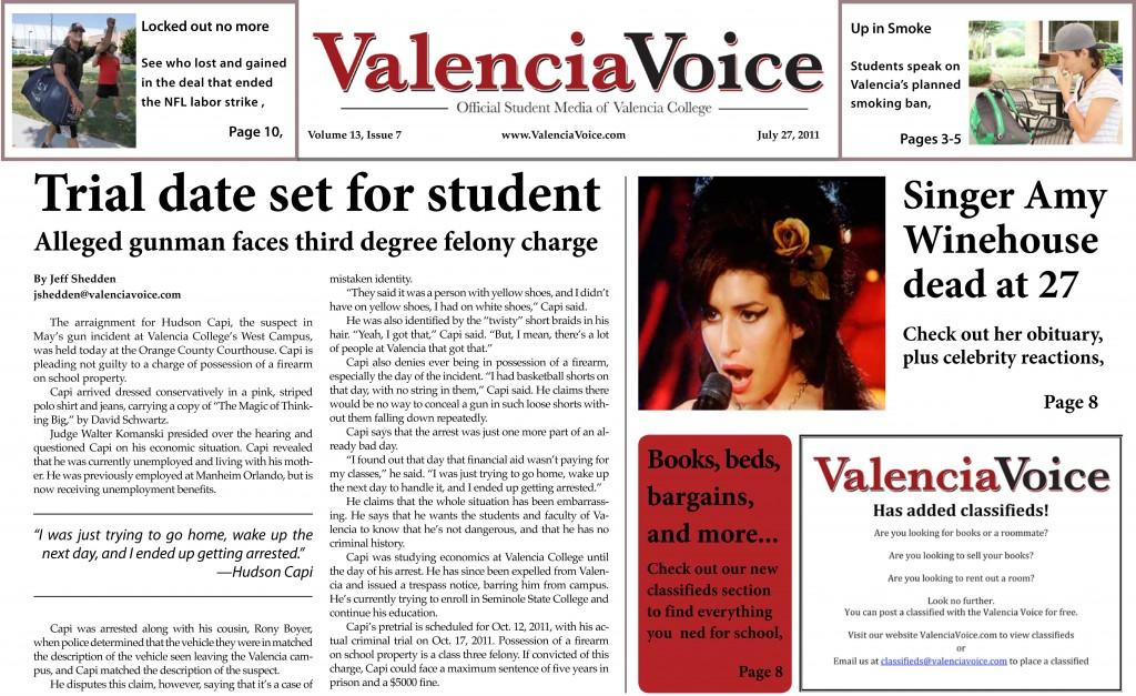 Valencia Voice, July 27: Student pleads 'not guilty' in campus gun incident