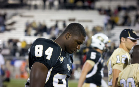 UCF tight end Justin Tukes hangs his head during the Knight's loss to Tulsa.