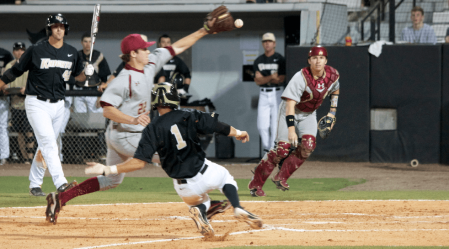 UCF+second+baseman+Travis+Shreve+scores+his+first+of+two+runs+on+the+night%2C+as+the+Knights+beat+Boston+College+6-5.