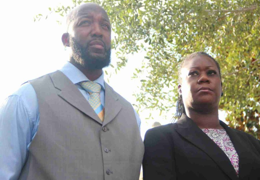 Tracy Martin and Sybrina Fulton, Trayvon Martin's parents, stood by their attorney on Thursday after the conclusion of court.