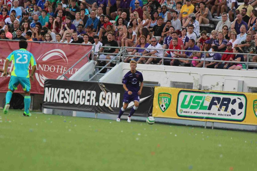 Defender Brian Fekete #24 of Orlando City SC runs upfield against the Seattle Sounders Reserves, Sunday night in the team's seventh shutout of the season.