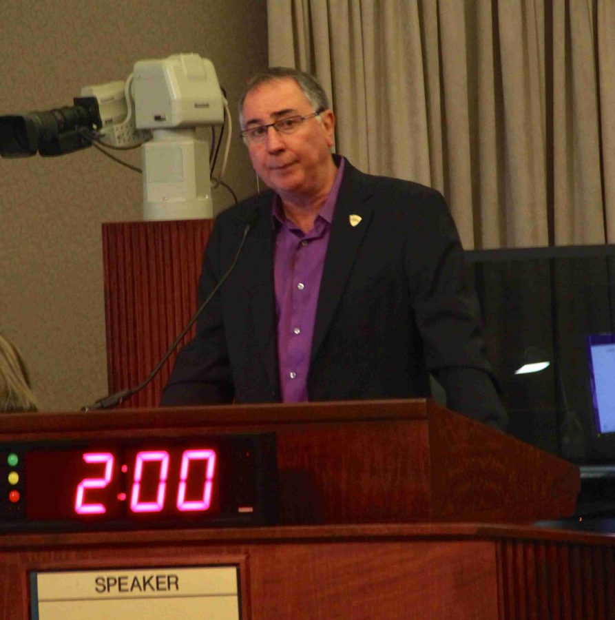 Orlando City president Phil Rawlins speaking to the Board of Commissioners on Tuesday.