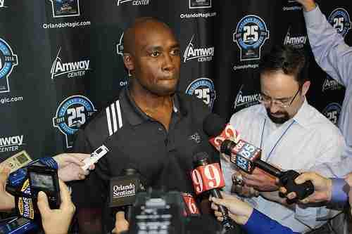 Orlando Magic head coach Jacque Vaughn speaks during Monday's media day.