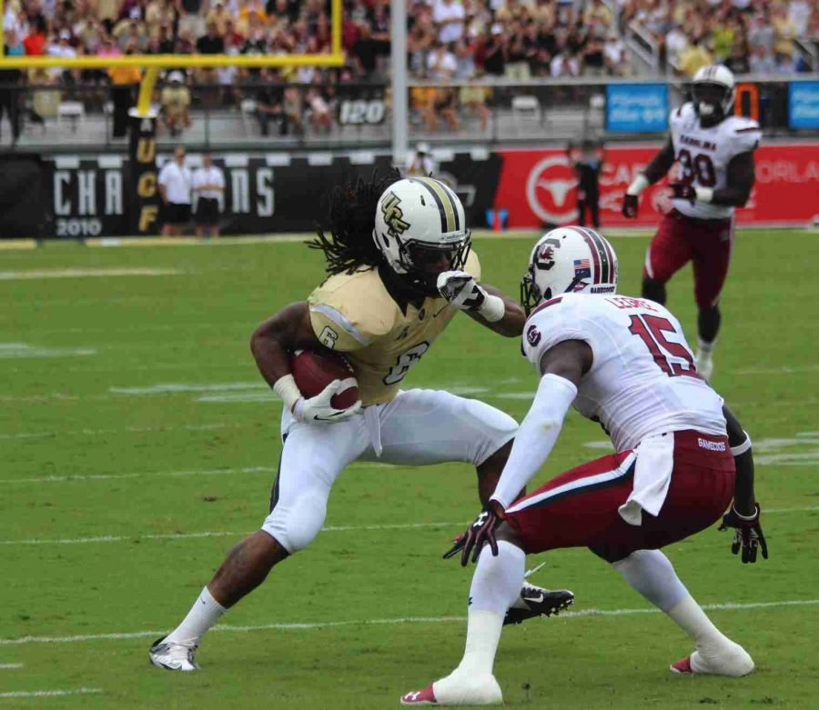 Rannell Hall, No. 6, had 142 yards receiving and caught two touchdowns in the Knights 28-25 loss to South Carolina.