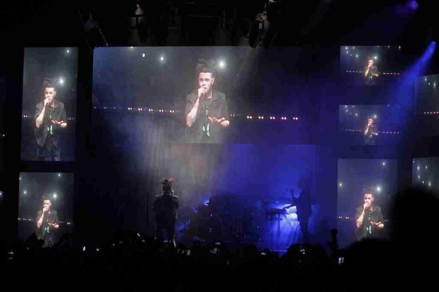Abel Tesfaye, who goes by The Weeknd, performing