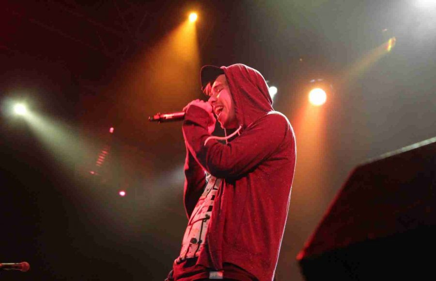 Seattle-based rapper, Grieves on stage at House of Blues in Orlando opening for Pepper.