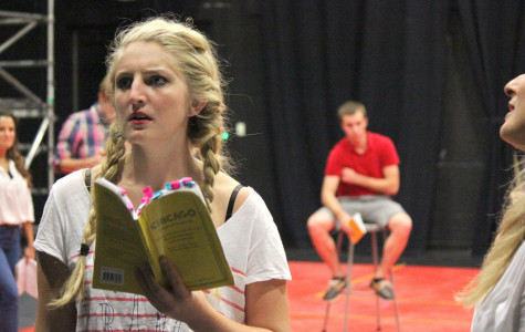 Rachel Rees, who plays Velma Kelly, going through her lines during rehearsal
