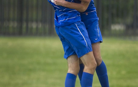 Twin brothers Walker, left, and Tucker Hume celebrate after a goal at Westlake High school in Austin, Texas.