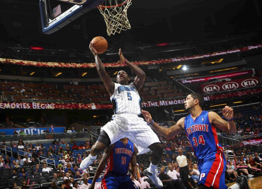 Magic rookie Victor Oladipo drives to the basket during Sunday's preseason game.