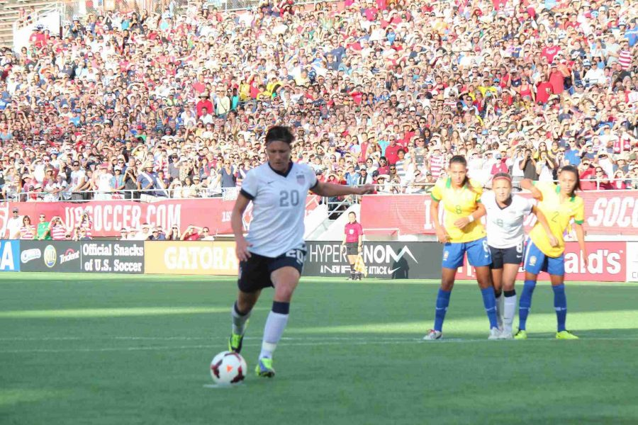 Abby Wambach scored on a penalty kick during Sunday's game.