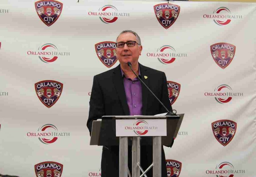 Orlando+City+SC+president+Phil+Rawlins+speaks+during+Monday%27s+press+conference.