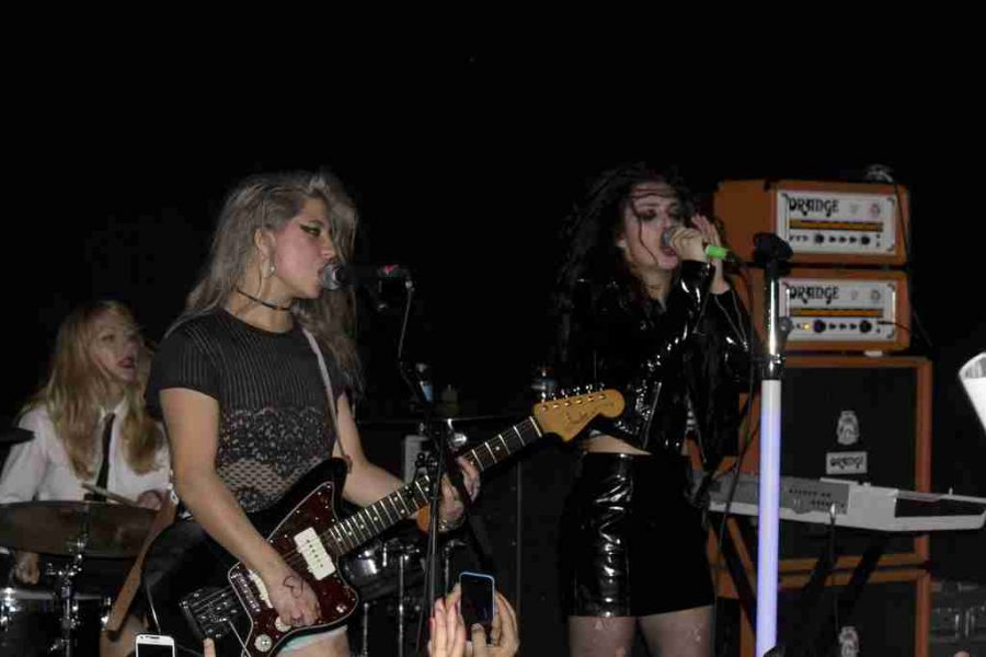 Chloe Chaidez of Kitten joins Charli XCX on stage at The Social in Orlando, Fla., on Wednesday, Nov. 20, 2013. (Ty Wright / Valencia Voice)