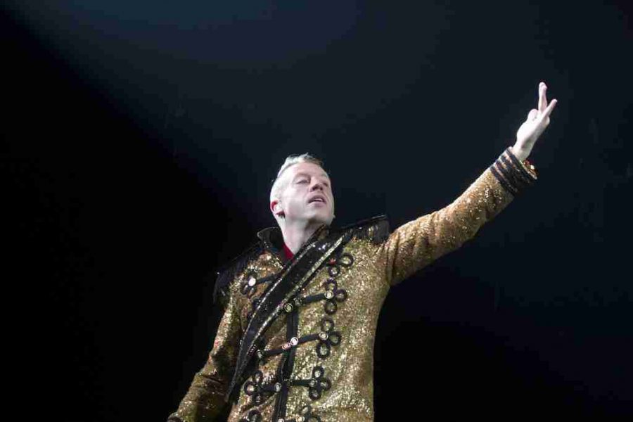 Macklemore (shown) and Ryan Lewis performed for the first time in Tampa on Saturday at the USF Sundome.