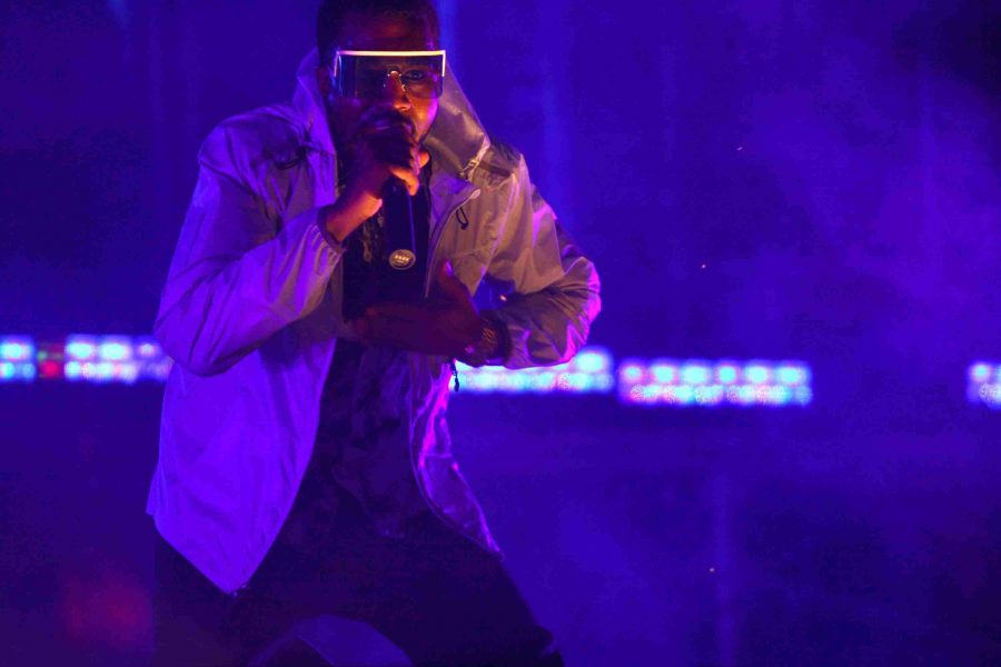 Kanye West performs at Lollapalooza at Grant Park in Chicago, Illinois, on Sunday, August 3, 2008.