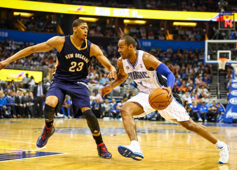 Arron Afflalo (right) drives to the basket against New Orleans Anthony Davis on Friday night.