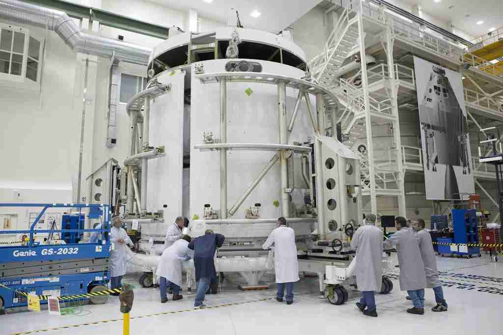 Inside the Operations and Checkout Building high bay at NASA's Kennedy Space Center, shows the service module for the Orion spacecraft.