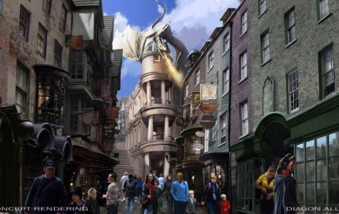 A fire breathing dragon tops Gringotts Bank in the latest attraction Harry Potter and the Escape from Gringotts.