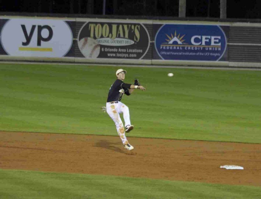 UCF second baseman Dylan Moore want 2-5, while also making a good defensive play for the Knights on Friday.
