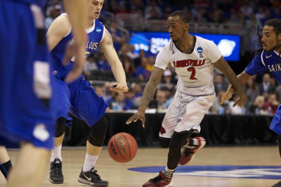 Louisville Cardinals guard Russ Smith finished the game with 11 points, seven assists and three rebounds.