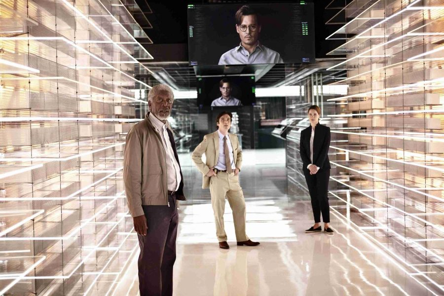 From left, Morgan Freeman as Joseph Tagger, Cillian Murphy as Agent Buchanan, Johnny Depp as Will Caster, (on monitors), and Rebecca Hall as Evelyn Caster in Alcon Entertainment's sci-fi thriller