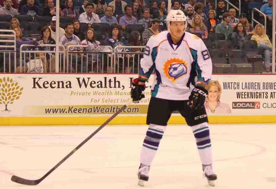 C.J. Severyn scored the Solar Bears first goal of the game on Saturday.