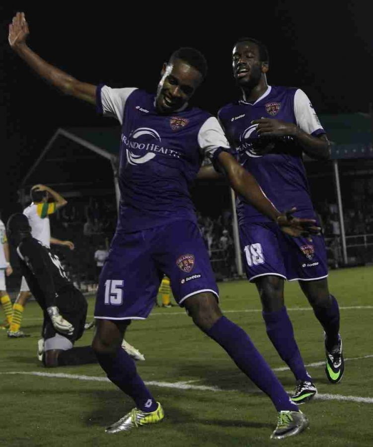Dennis Chin scored in the 44th minute of the first leg of the I-4 Derby on Wednesday against the Tampa Bay Rowdies.
