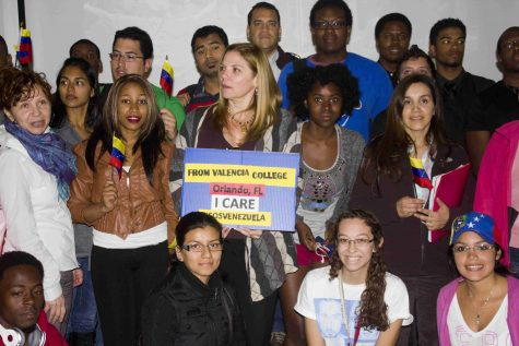 Students gathered in on West campus to raise awareness on the situation in Venezuela.