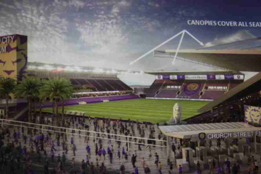 View from outside the new Orlando City Soccer Club stadium set to open in 2016.