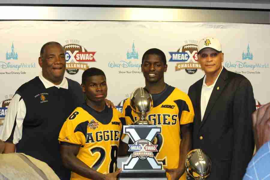 Tarik Cohen (No. 28) rushed for 167 yards and claimed the MEAC/SWAC Challenge MVP.