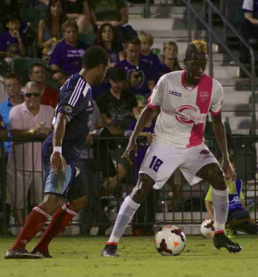 Kevin Molino scores his USL PRO record-tying 15th goal during Orlando City's 3-1 win over Harrisburg City.