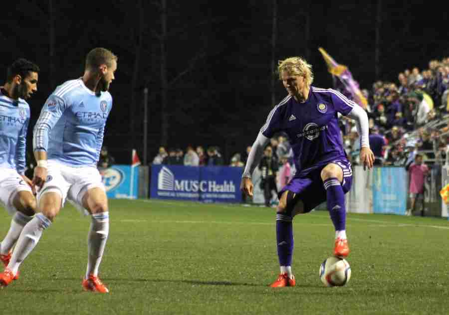 Brek Shea scored early in the game as Orlando City tied the Charleston Battery 1-1.