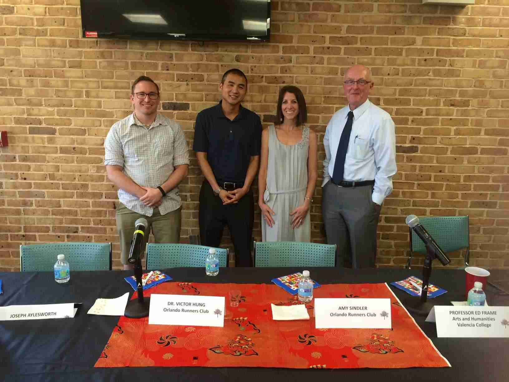 From L-to-R: Joseph Aylesworth, Dr. Victor Hung, Amy Sindler and professor Ed Frame.
