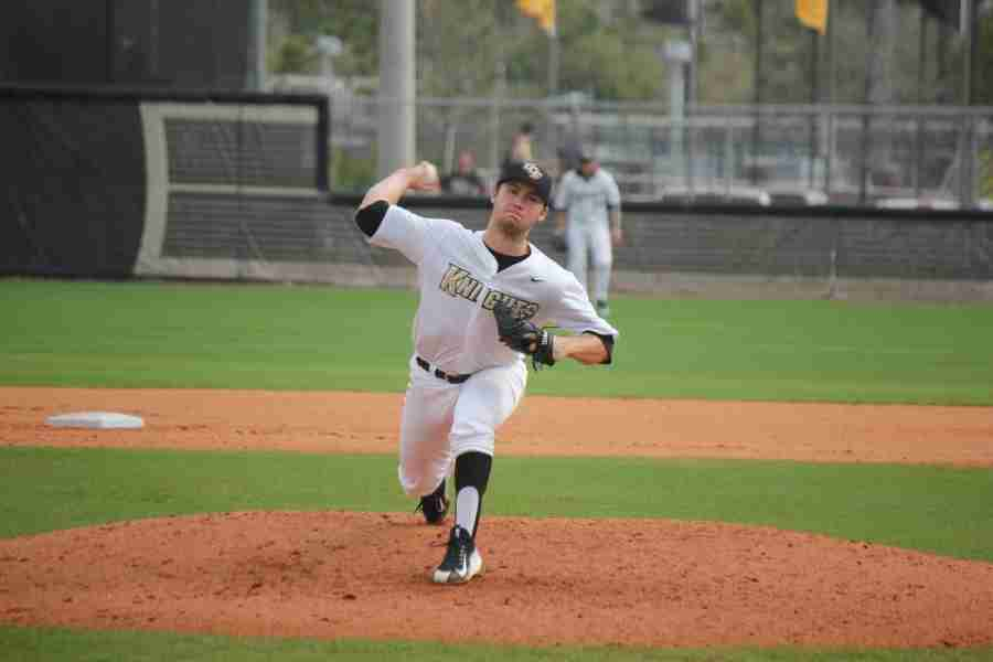 Knights starting pitcher Cre Frinfrock improved to 7-4 on the season after Saturday's complete game win.