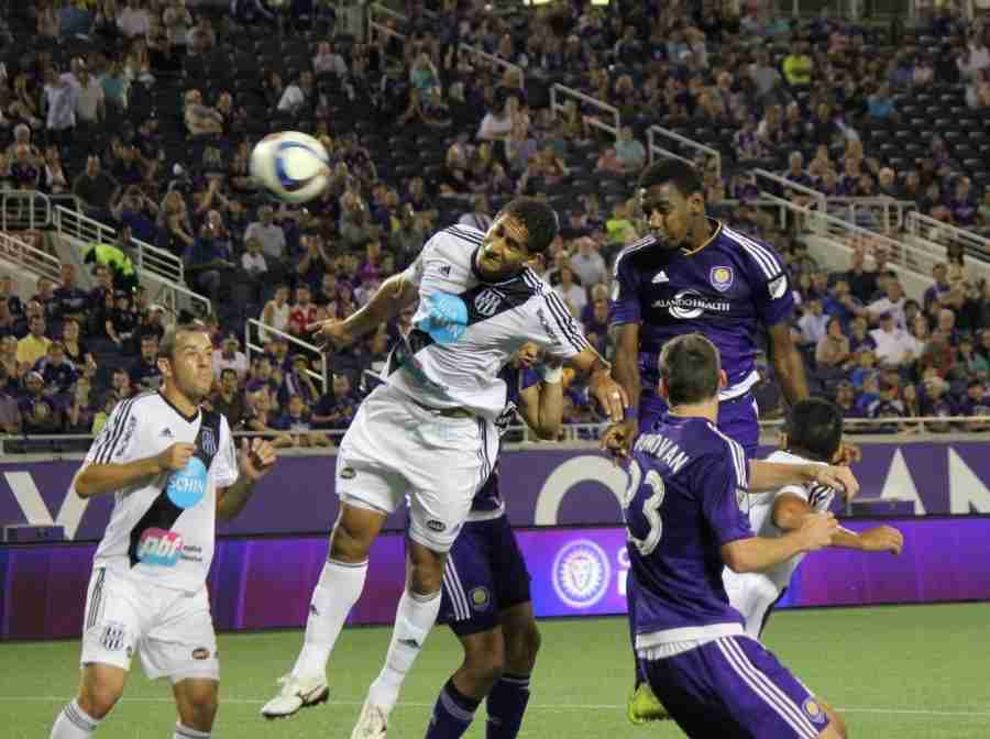 Bryan Rochez scored Orlando City's first goal of the game on a header in the 45th minute.