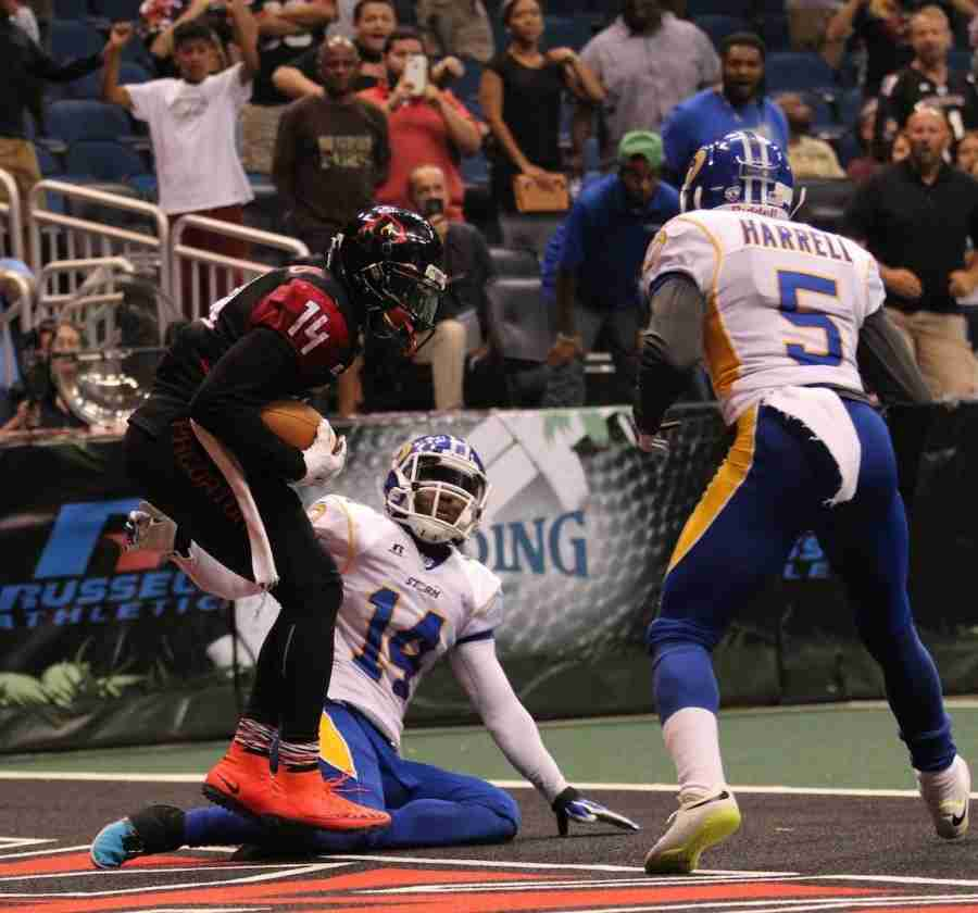 Brandon Thompkins caught the game-winning two-point conversion in overtime to give the Predators the victory over the Storm.