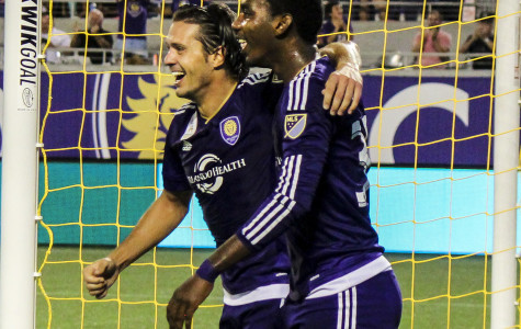 Adrian Winter (left) scored two goals while Bryan Rochez scored another in Orlando City's 3-1 win over Sporting KC.