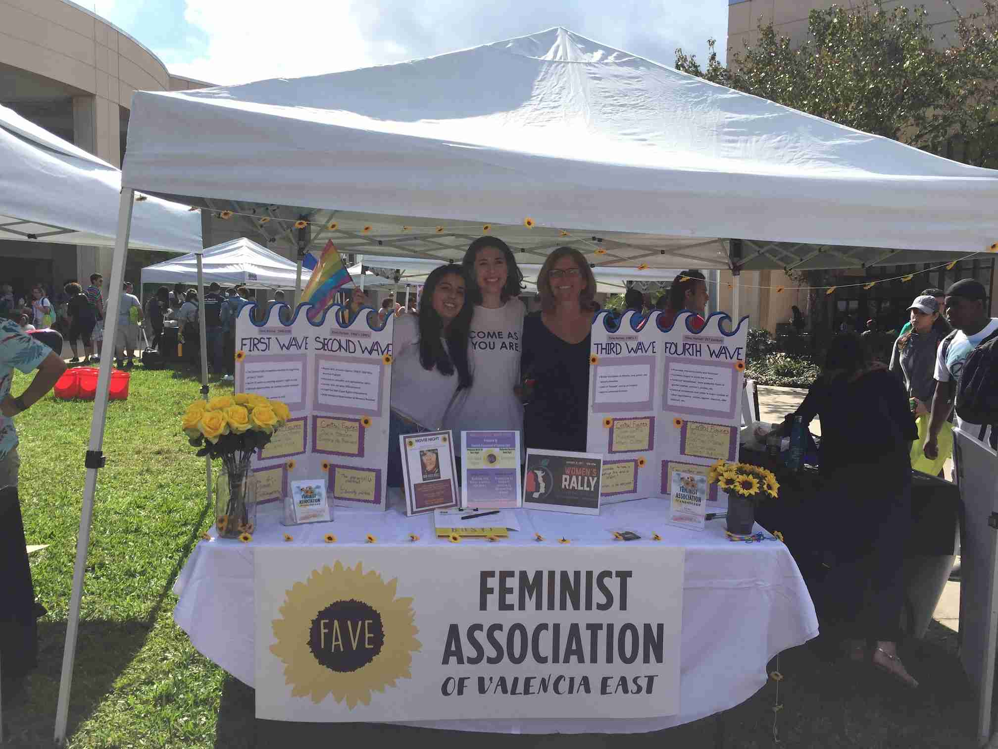 Members of the Valencia College Feminist Association recruit new members at Club Rush.