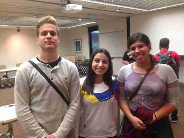 Valencia College students and Venezuelan nationals (left to right) Francisco Goncalves, Maureen Fleitas and Marguel Fleitas attend the Model UN event.