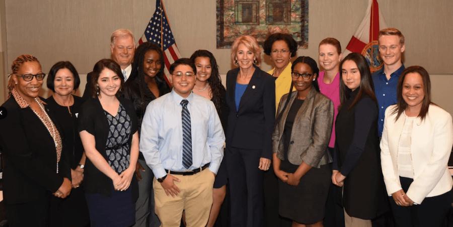 US Ed Secretary, Betsy Devos and Valencia Pres. Sandy Shugart meet with Valencia College students.