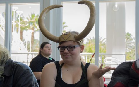 Samantha Martin waits for hetero speed dating in her Loki outfit.