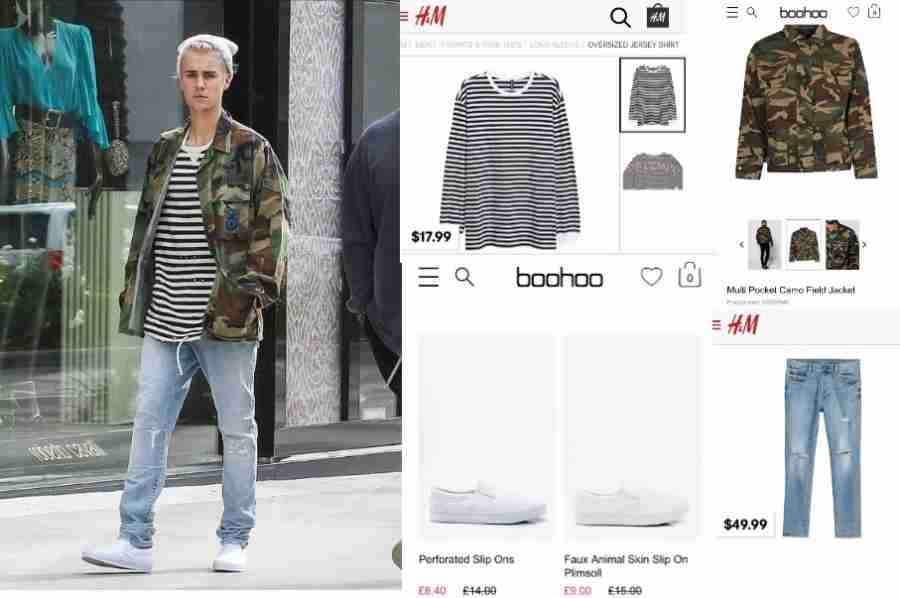 You can get Justin Bieber's look for less by shopping at Boohoo, Forever 21, and H&M.
