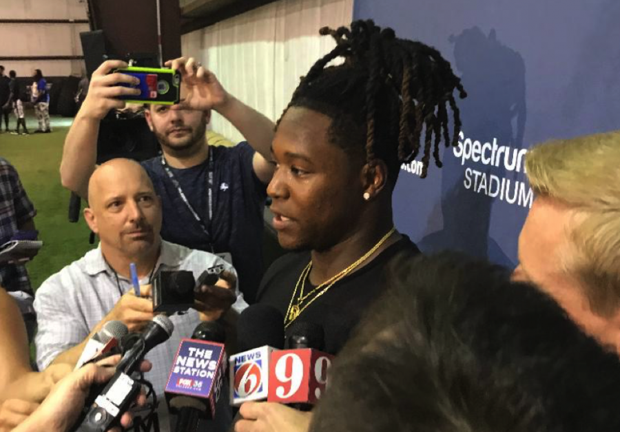 Shaquem+Griffin%2C+former+UCF+Linebacker+speaks+with+the+media+about+the+next+chapter+in+his+career.
