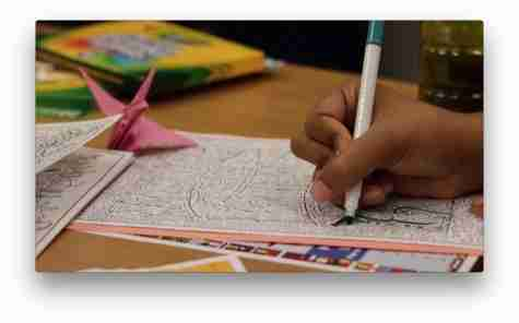 student coloring a butterfly
