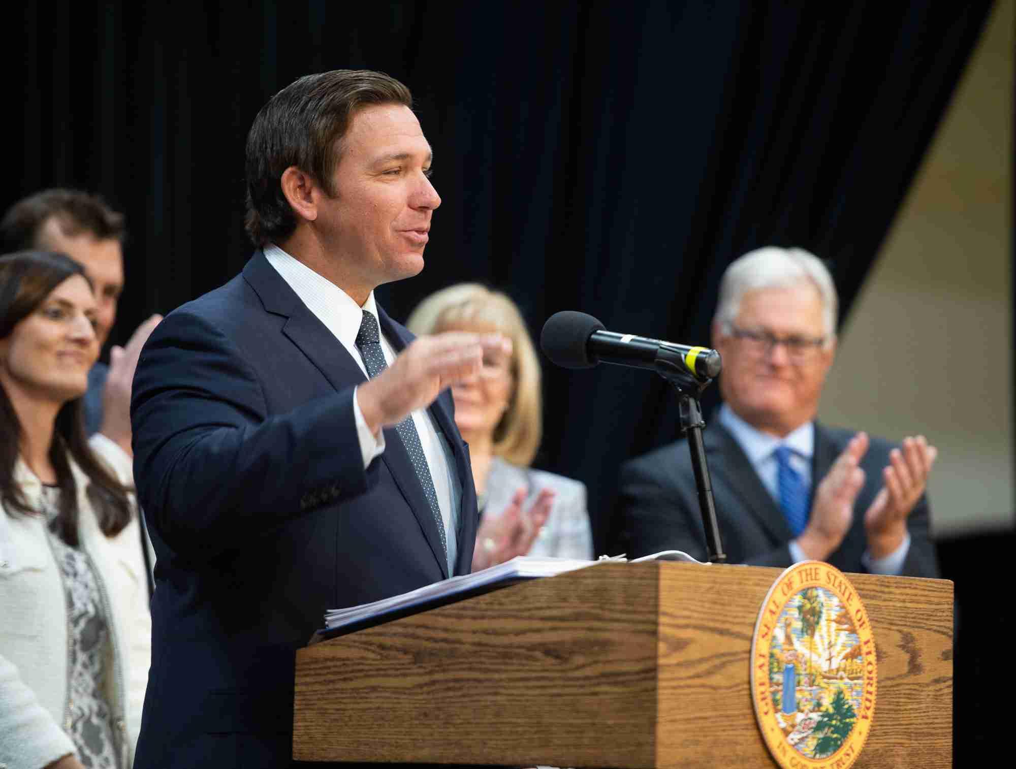 Florida Governor Ron DeSantis speaks at Valencia's East Campus