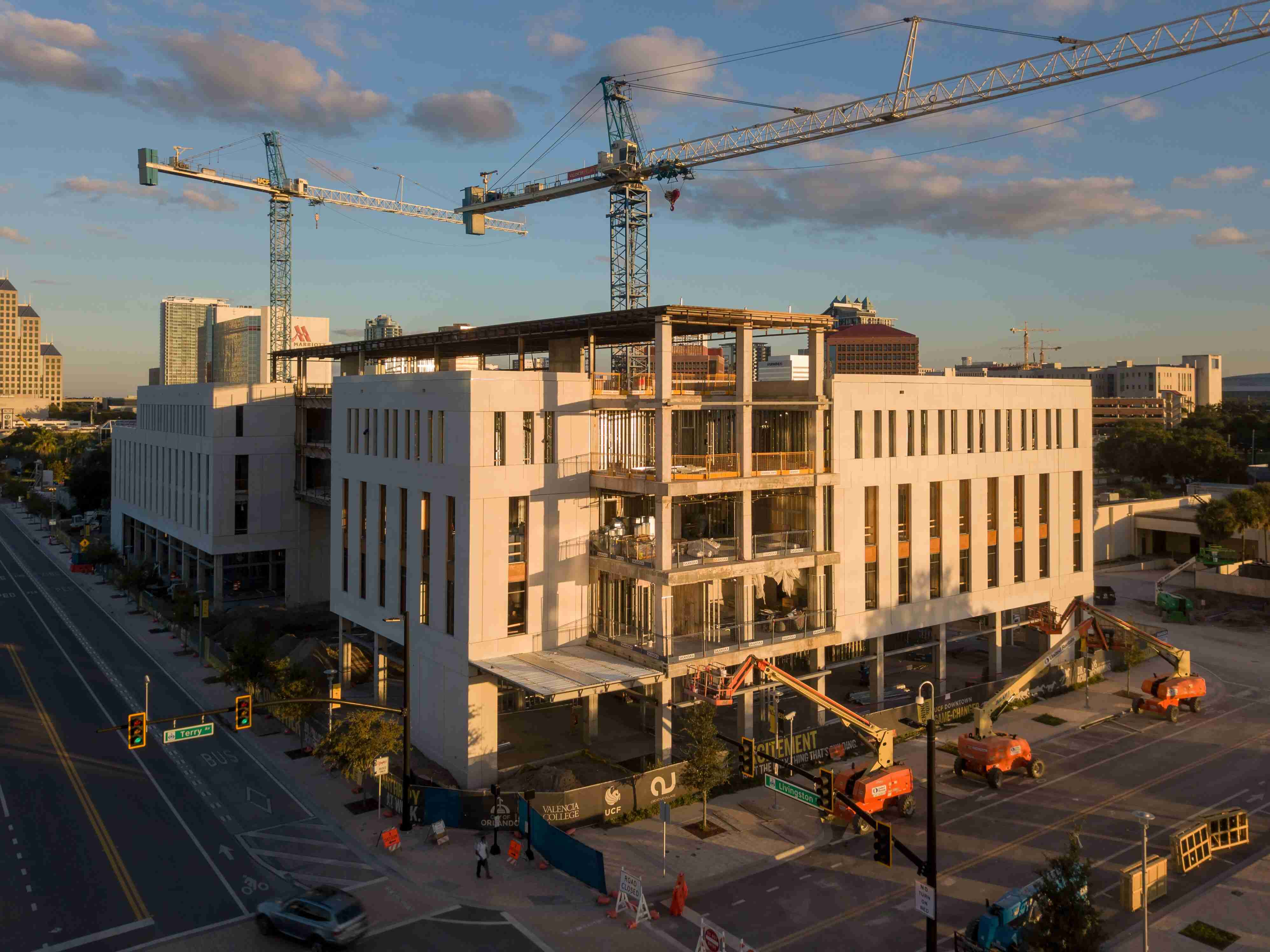 The Downtown Campus for the University of Central Florida and Valencia College is under construction.
