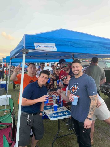 Fans tailgate before the Apollos faced off against the Memphis Express.