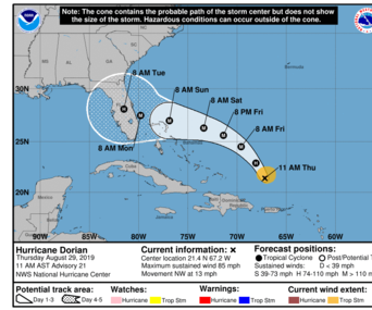 Hurricane Dorian is expected to make landfall on Saturday
