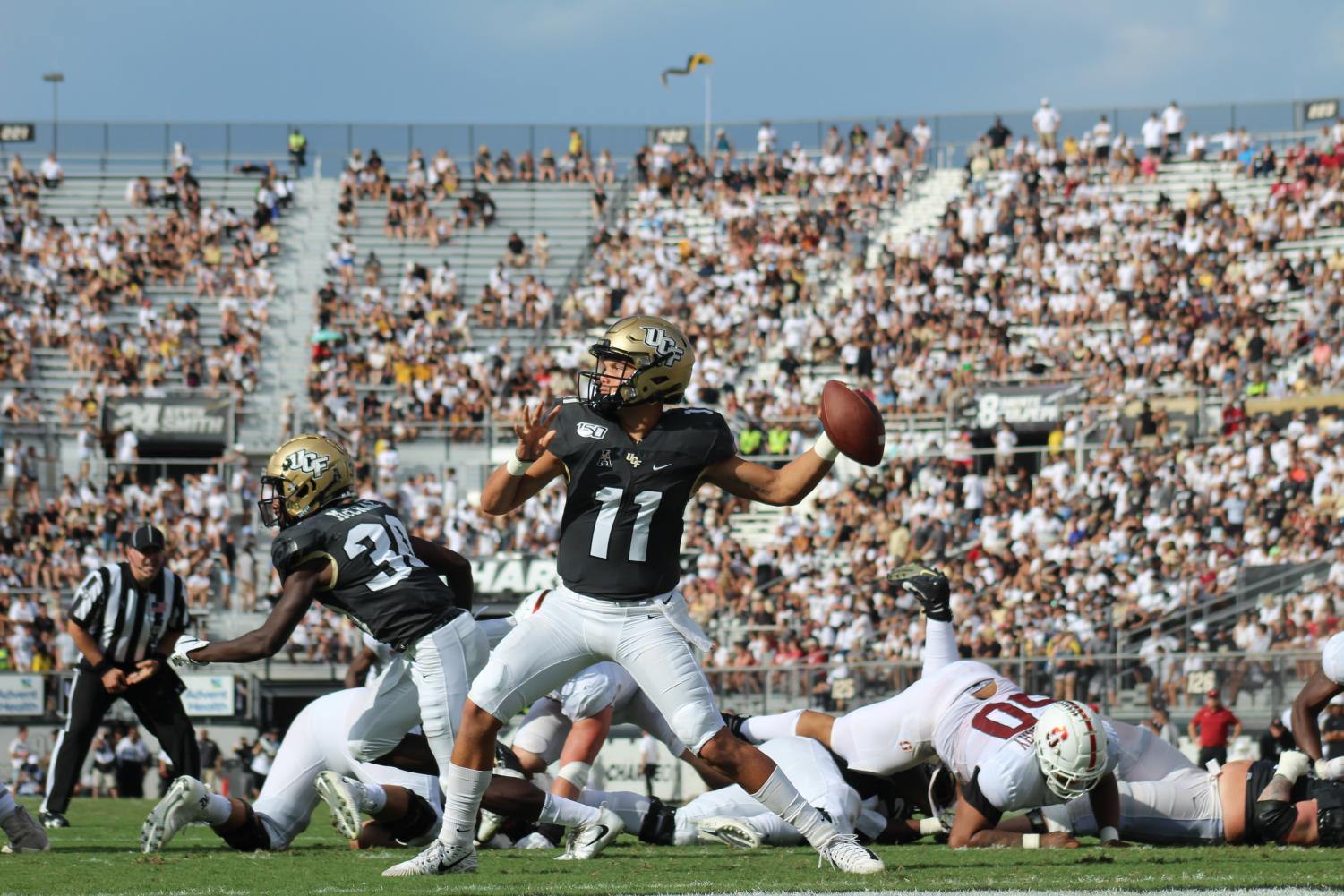 True Freshman Quarterback Dillon Gabriel threw for 347 yards and four touchdowns for the UCF Knights.