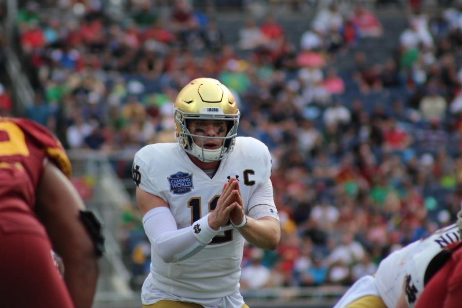 Notre Dame Quarterback Ian Book completed 20 of his 28 passes for 247 yards and a touchdown.