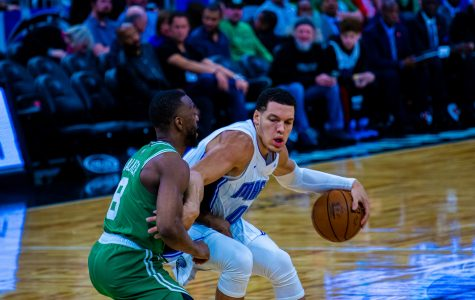 Aaron Gordon had his first triple double of the season. Photo by Joey Weierheiser from Jan. 24 against the Boston Celtics.